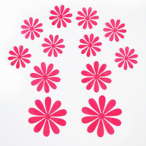 Outfit 12PCS Creative 3D Floral Shape Plastic Wall Sticker For Kindergarten Children's Bedroom WATERMELON RED
