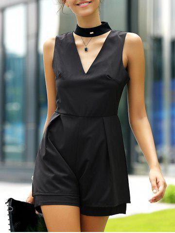 New Fashionable Stand Collar Cut Out Solid Color Romper For Women