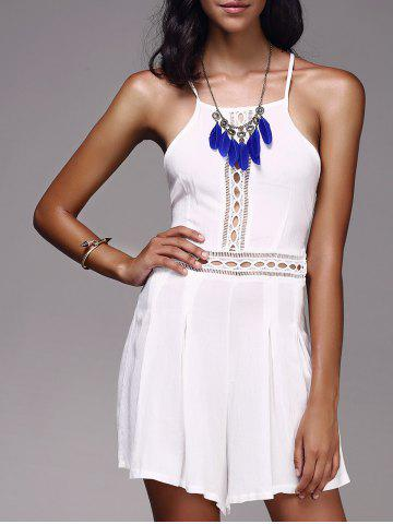Discount Bohemian Strappy Cut Out Backless Romper For Women WHITE XL