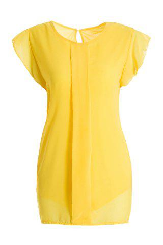 Sweet High-Low Hem Fly Sleeve Solid Color Women's Chiffon Blouse - Yellow - One Size
