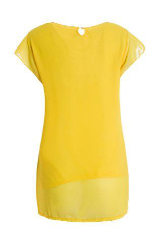 Cheap Sweet High-Low Hem Fly Sleeve Solid Color Women's Chiffon Blouse - ONE SIZE YELLOW Mobile