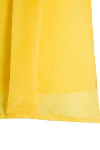 Chic Sweet High-Low Hem Fly Sleeve Solid Color Women's Chiffon Blouse - ONE SIZE YELLOW Mobile