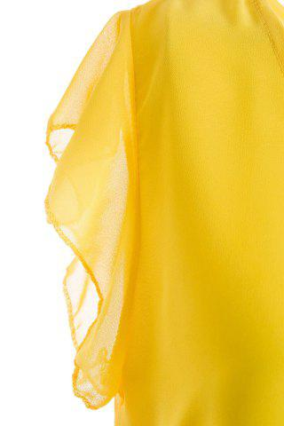 Sale Sweet High-Low Hem Fly Sleeve Solid Color Women's Chiffon Blouse - ONE SIZE YELLOW Mobile