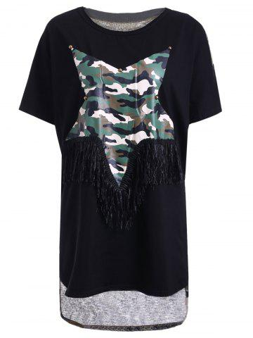 Best Trendy Jewel Neck Star Patchwork Camo Print Fringed T-Shirt For Women