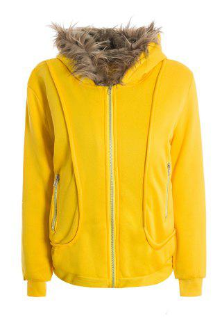 Discount Casual Artificial Wool Embellished Hooded Zipper and Pocket Design Women's Cotton Coat YELLOW ONE SIZE