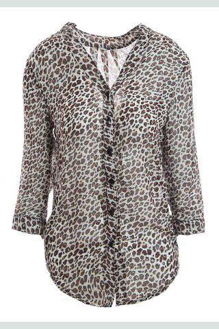 Online Leopard Print Stand Collar 3/4 Flanging Sleeve Chiffon Shirt - M BLACK Mobile