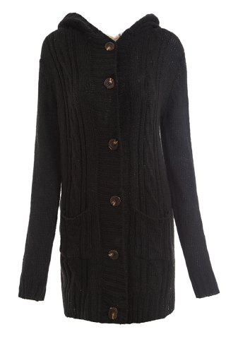 Women's Long Sleeve Hoodie Coat Cardigans trench Sweater - BLACK ONE SIZE