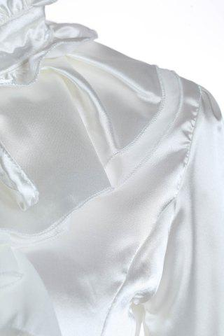 Discount Elegant Palace Style Stand Collar Flouncing Embellished Long Sleeve Chiffon Women's Shirt - M WHITE Mobile