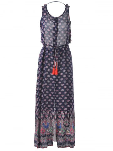 Trendy Fashionable Scoop Neck Backless Printing Sleeveless Maxi Dress For Women