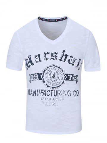 Fancy V-Neck Letter and Sailing Print Short Sleeve T-Shirt For Men