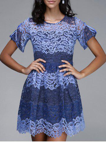 Buy Trendy Round Neck Short Sleeve Hit Color Spliced Women's Lace Dress