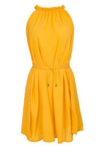 Trendy Casual Ruffled Neck Sleeveless Stretchy  Women's Belted Dress