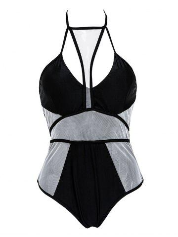 Fancy Mesh Color Block Strappy One Piece Swimwear