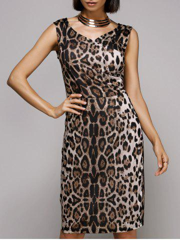 Unique Stylish V-Neck Sleeveless Leopard Print Midi Dress For Women