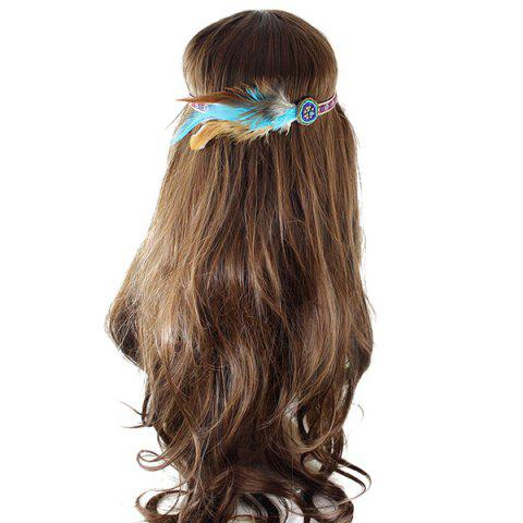 Discount Vintage Faux Feather Elastic Hair Band For Women - BROWN  Mobile