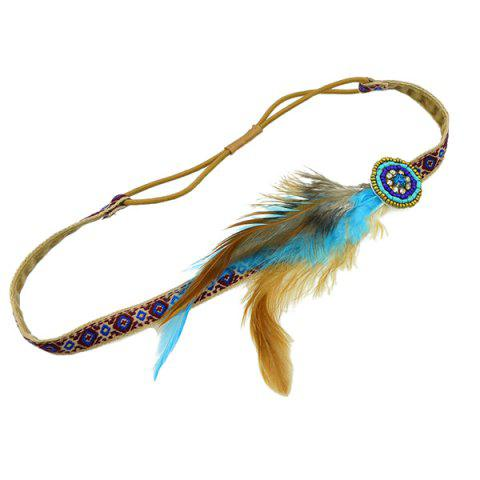 Outfits Vintage Faux Feather Elastic Hair Band For Women - BROWN  Mobile