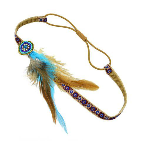 Trendy Vintage Faux Feather Elastic Hair Band For Women - BROWN  Mobile