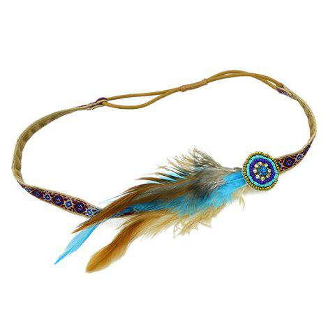 Fancy Vintage Faux Feather Elastic Hair Band For Women - BROWN  Mobile