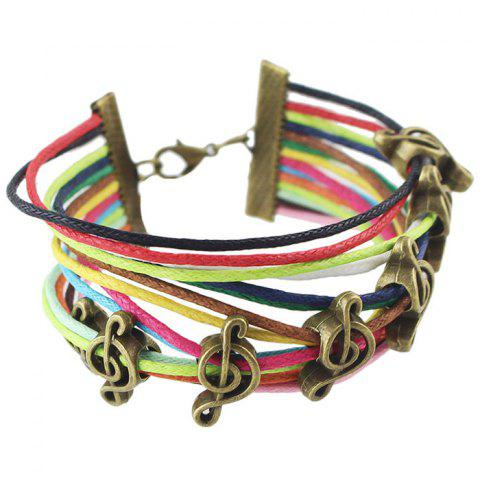 Sale Vintage Faux Leather Rope Music Note Bracelets For Women