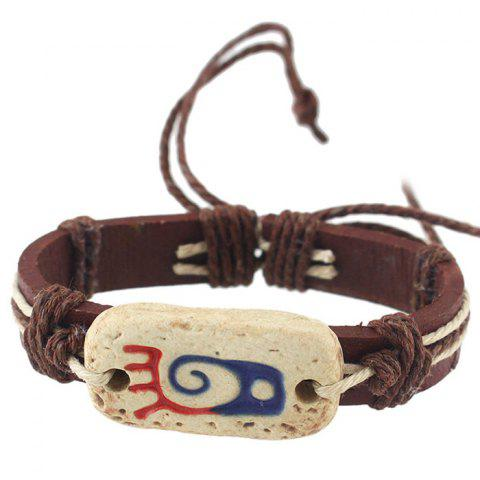 Store Vintage Faux Leather Rope Bracelets For Women COFFEE