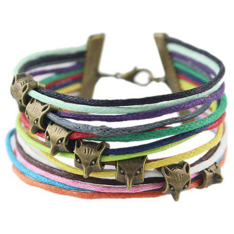 Buy Vintage Faux Leather Rope Fox Bracelets COLORMIX
