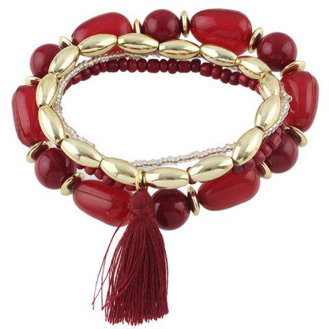 Fashion Vintage Tassel Beads Bracelets For Women RED
