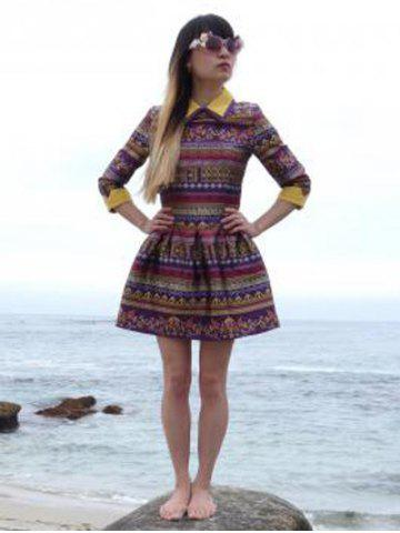 Latest Elegant Vintage Flat Collar 3/4 Sleeve Color Block Printed Women's Dress