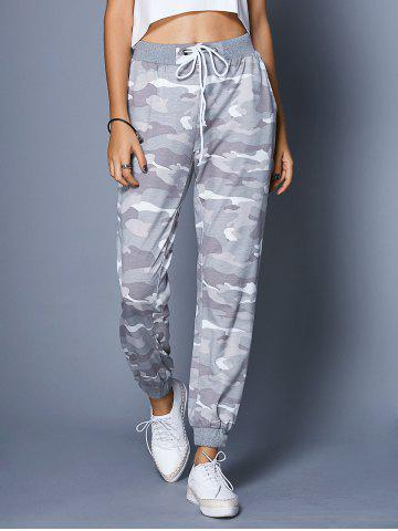 Discount Chic High-Waisted Camo Print Pocket Design Women's Pants