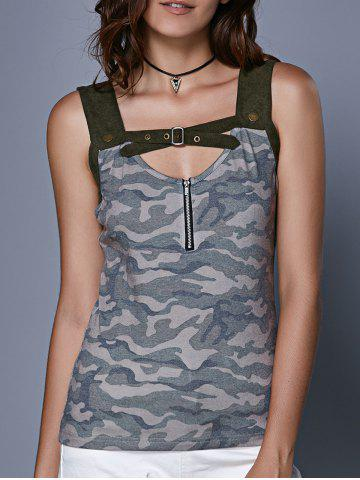 Shops Stylish Women's Camouflage Hollow Out Crop Top CAMOUFLAGE L