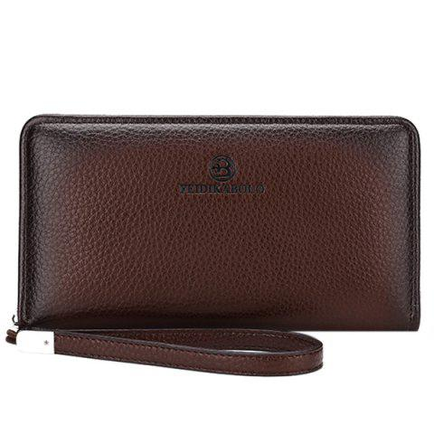 Shops Trendy Zip and PU Leather Design Clutch Bag For Men