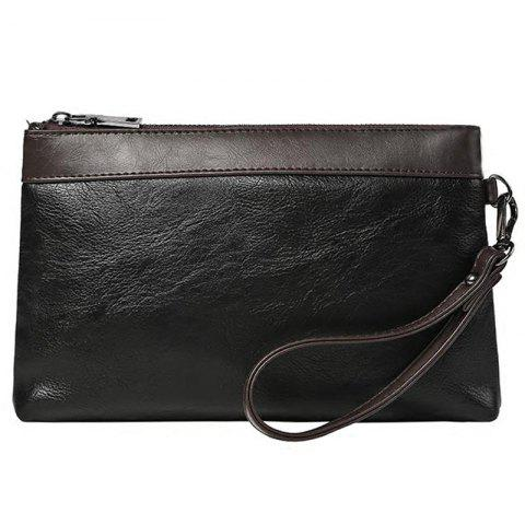 Online Leisure PU Leather and Color Block Design Clutch Bag For Men