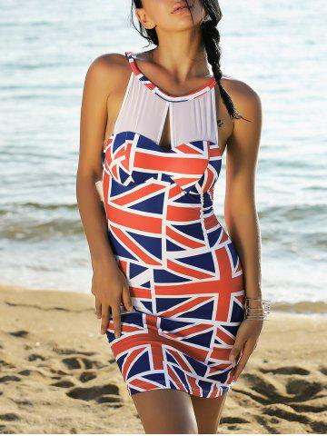 Fancy Mesh Panel Union Flag Mini Patriotic Dress RED AND WHITE AND BLUE L