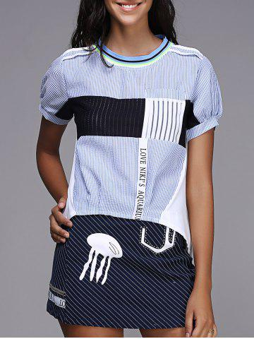Sale Short Sleeve Striped Two Piece Dress