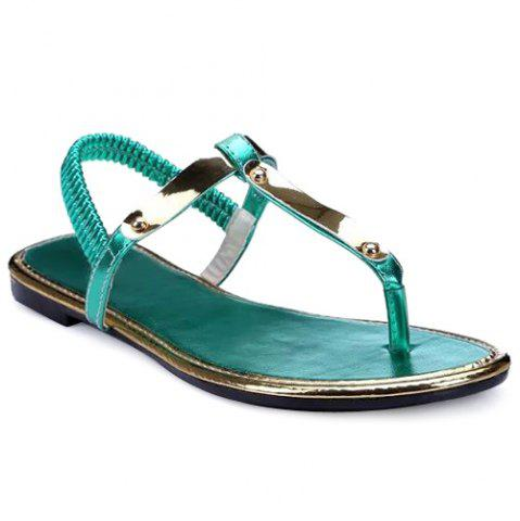 Shop Concise Elastic Band and Flat Heel Design Sandals For Women