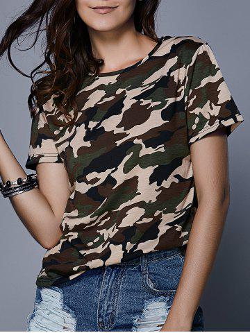 Fashion Army Camouflage Print T-Shirt CAMOUFLAGE M
