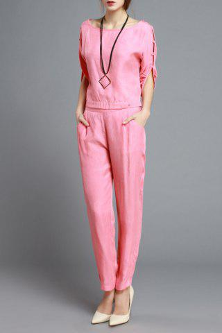 Fancy Fitting Cut Out T-Shirt and Solid Color Harem Pants