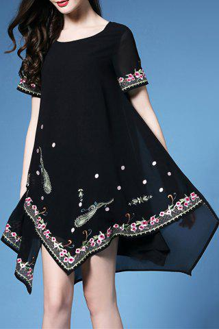 Discount Short Sleeve Embroidered Handkerchief Dress