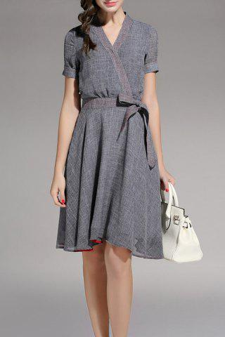Shop Linen A Line Surplice Dress