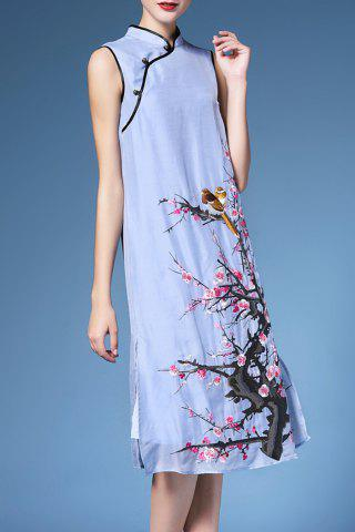 Chic Loose Fit Sleeveless Piped Qipao Dress