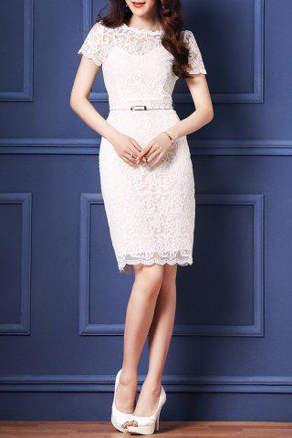 Fashion Belted Guipure Lace Bodycon Dress