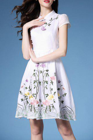 Hot Mandarin Collar Embroidered Fit and Flare Dress