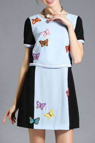 Best Hit Color Embroidered Faux Twinset Dress