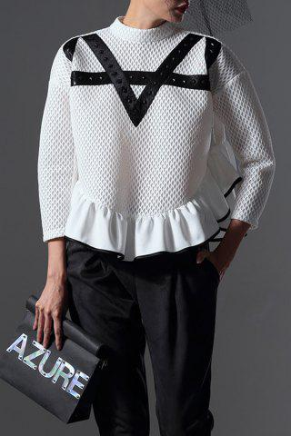 Outfit Ruffled Mesh Pullover Sweatshirt -   Mobile