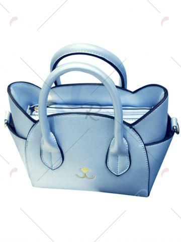 Trendy Charming Cat Shape and Solid Color Design Tote Bag For Women - BLUE  Mobile