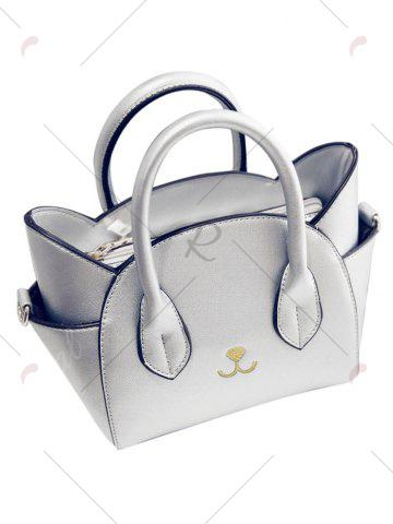 Trendy Charming Cat Shape and Solid Color Design Tote Bag For Women - SILVER  Mobile