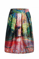 Vintage Landscape Printed Knee-Length Flare Women's Skirt