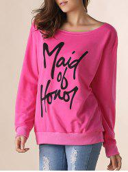 Casual Letter Printed Skew Neck Pullover Sweatshirt For Women -