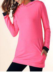 Casual Hooded Color Block Long Sleeve Dress For Women - ROSE RED
