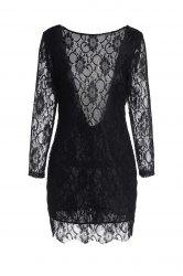Lace Long Sleeve Backless Short Bodycon Dress - BLACK