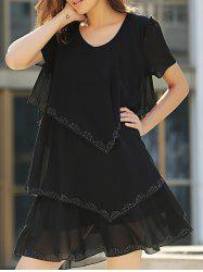 Tiered Loose Dress - BLACK